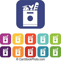 Grocery bag with food icons set vector illustration in flat...