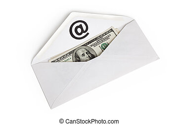 E-Mail and usa dollar, concept of E-commerce