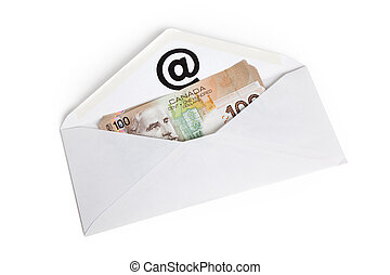 E-Mail and Canadian dollar, concept of E-commerce
