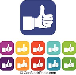 Thumb up gesture icons set vector illustration in flat style...