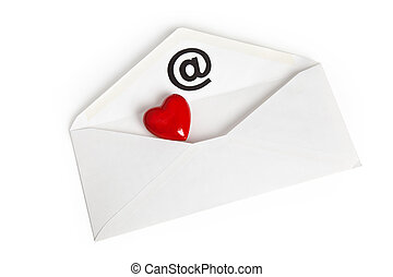 Red Heart Shape and E-Mail, concept of love mail