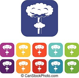 Nuclear explosion icons set vector illustration in flat...