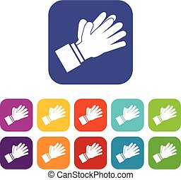 Clapping applauding hands icons set vector illustration in...