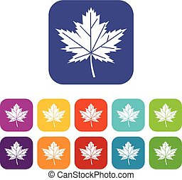 Maple leaf icons set vector illustration in flat style In...
