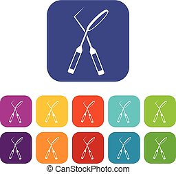 Tooth instruments for dental medicine icons set vector...