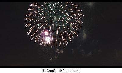 Celebration colorful fireworks. New Year holidays salute....