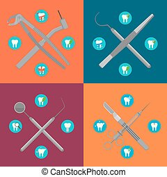 Dental instruments crosswise on color background with round...