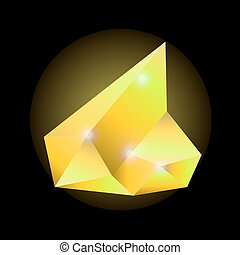 Yellow shining crystal isolated on black background vector...