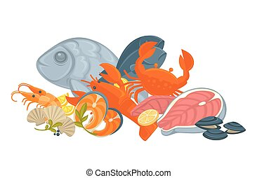 Tasty fresh uncooked exotic seafood in big heap - Delicious...