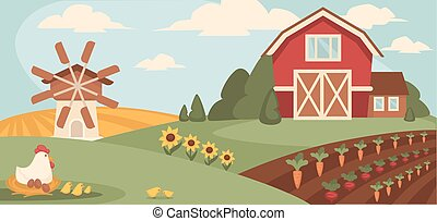 Big ranch with wide field, vegetable beds and paultry - Big...