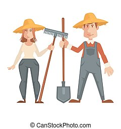 Farmers in straw hats and with work equipment - Farmers in...
