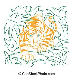 Icon Tiger icon in nature - Tiger icon in nature, in the...
