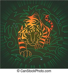 illustration Tiger icon in nature - Tiger icon in nature, in...