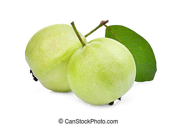 two whole guava fruit with green leaf isolated on white...