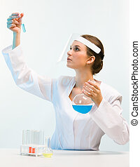 Scientist working - Portrait of scientist sitting at the...