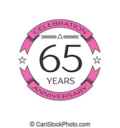 Realistic sixty five years anniversary celebration logo with...