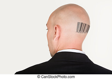 Barcode on back - Back of male head slightly turning with...