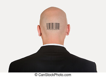 Man with bar code - Rear view of bald head with barcode on...