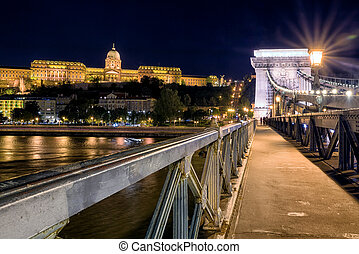 Chain bridge and Buda castle at night in Budapest - Famous...