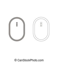 Optical mouse the grey set icon .