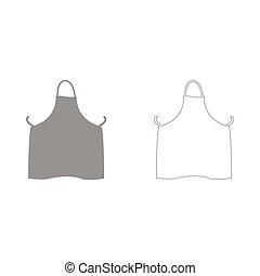 Kitchen apron the grey set icon .