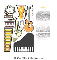 Article about music with instruments cartoon illustrations...