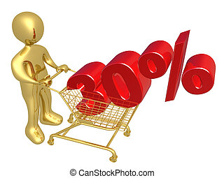 30% Off - 3d person pushing a shopping cart with a 30% 3d...