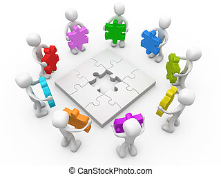 Options - 3d people standing around a jigsaw puzzle holding...