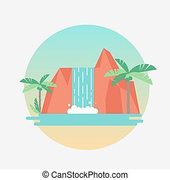 Tropical waterfall with palm trees. Vector flat...