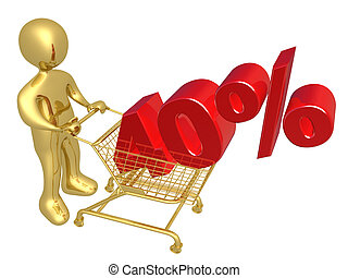 40% Off - 3d person pushing a shopping cart with a 40% 3d...