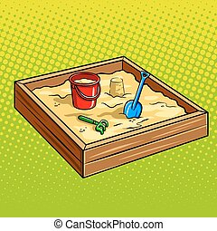 Sandpit for children pop art vector illustration - Sandpit...