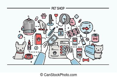 Pet shop horizontal banner featuring animals and meds...