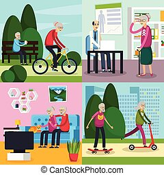 Aged Elderly People Orthogonal Composition Set - Four square...