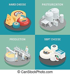 Cheese Production Isometric Icons Concept - Hard and soft...