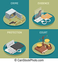 Law Justice Concept Isometric Icons - Law justice 4...