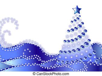 Christmas fir tree on blue snow - Silhouette of a Christmas...