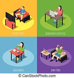 Estilo de vida, sedentario, concepto, diseño