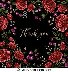 Floral Embroidery Frame Background Design - Red roses on...