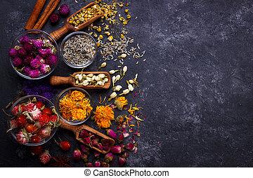 Assortment of dry flower tea