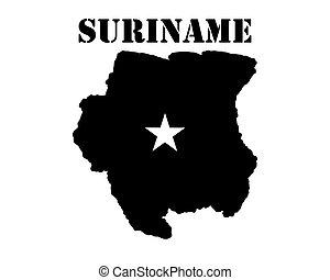 Symbol of Suriname and map - Black silhouette of the map and...