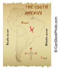 Map of the South America in the form of an ancient piracy...