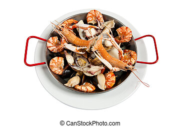 Seafood, isolated on white
