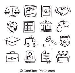 Law Doodle Icons on white background