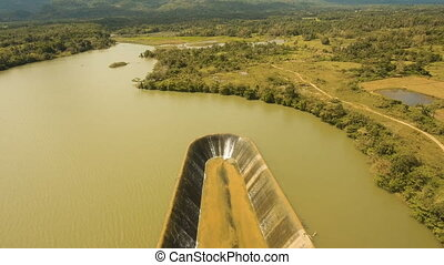 Aerial view dam on the lake, Bohol, Philippines. - Aerial...