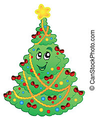 Decorated Christmas tree 1 - vector illustration.