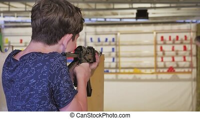 Boy teenager shoots in a dash from the machine lifestyle...