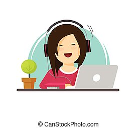 Happy woman working on computer vector illustration, flat carton girl works on laptop on workplace front view, person sitting on working table place, employee or freelancer