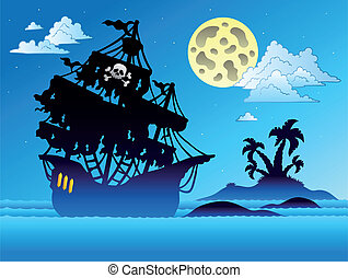 Pirate ship silhouette with island - vector illustration.