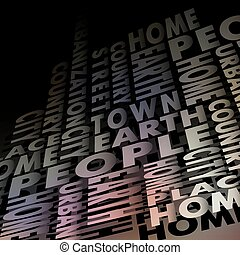 poeple font - Background consisting of words, vector...