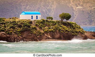 kefalos, wyspa, biały, Wyspa, kastri, Grek, Wieś, kościół,...